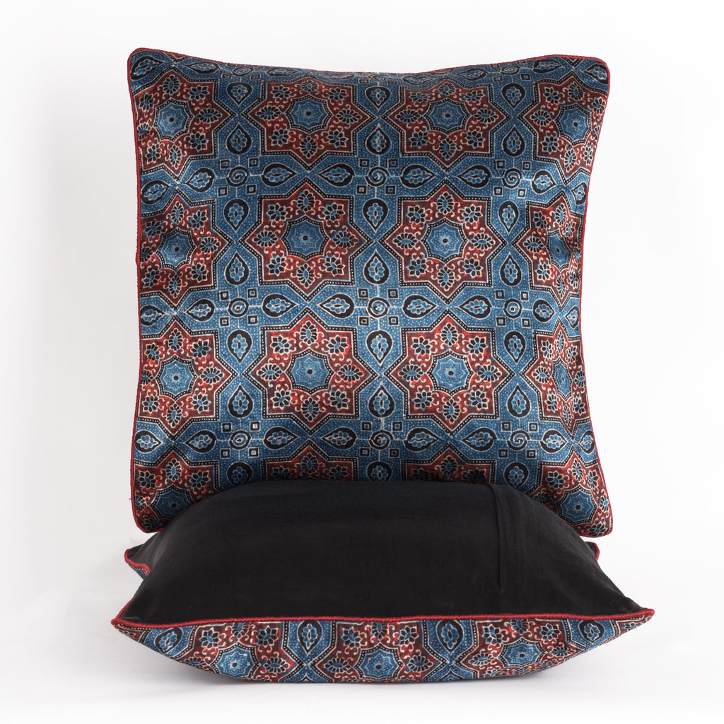 Star Flower Hand Block Print Mashru Silk Cushion Cover - Red Blue