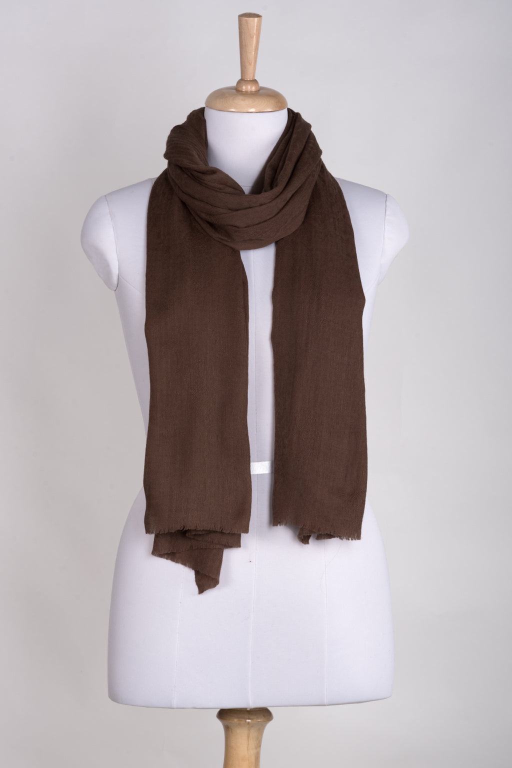 Paisley Jacquard Weave Cashmere Wool Scarf - Brown