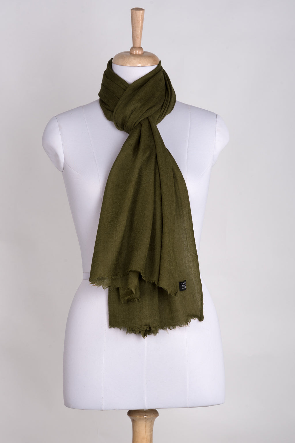 Paisley Jacquard Weave Cashmere Wool Scarf - Olive