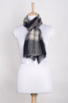 Checks w/ Small Diamond Weave Merino Wool Scarf - Navy Grey White