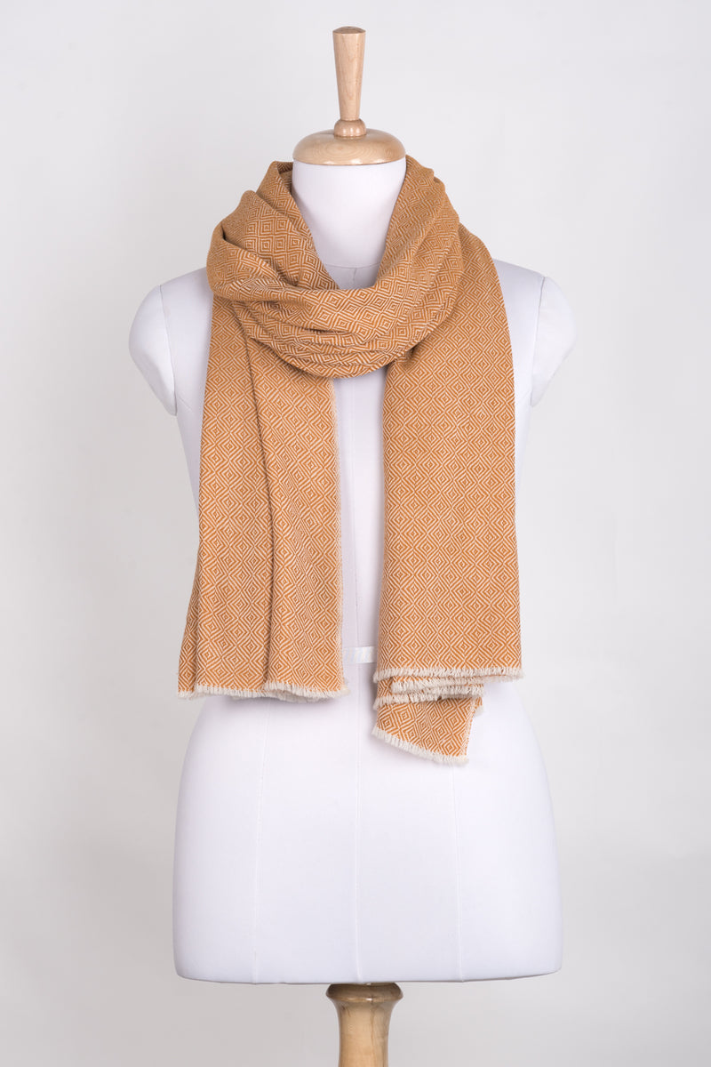 Diamond Weave Two Tone Woollen Scarf - Ochre