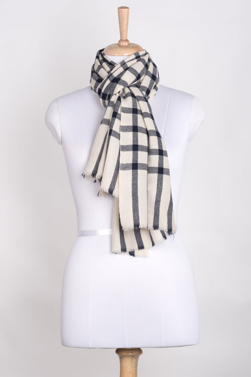 Windowpane Checks Merino Wool Scarf - Off-white Navy
