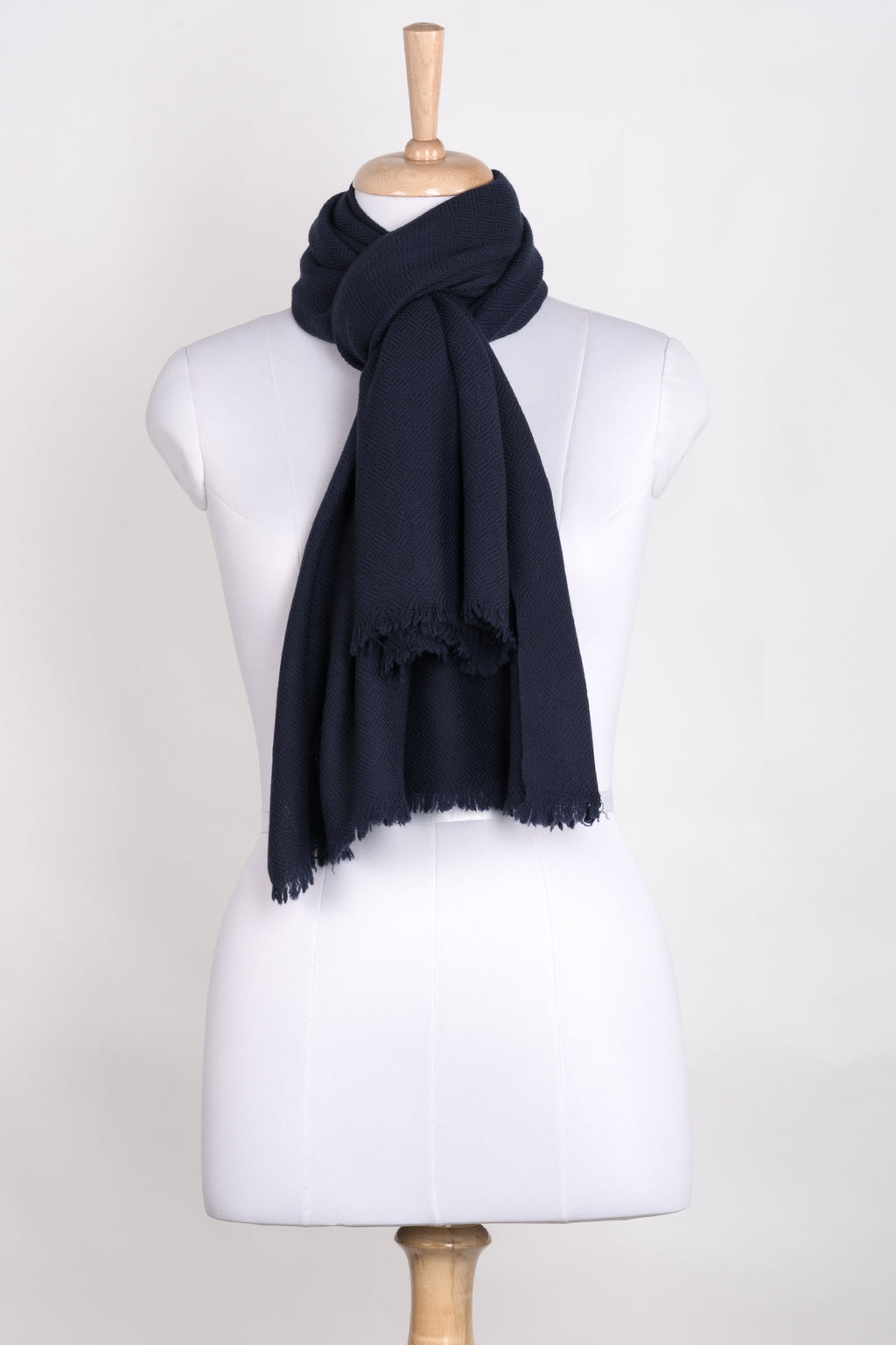 Diamond Weave Merino Wool Scarf - Navy