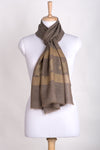 Gold Maple Leaf Border Cashmere Wool Scarf -  Beige