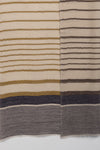 Reversible Stripes Merino Wool Scarf - Ochre Off-White Navy