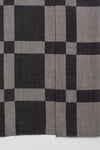 Windowpane Big Checks Jacquard Merino Wool Scarf - Grey