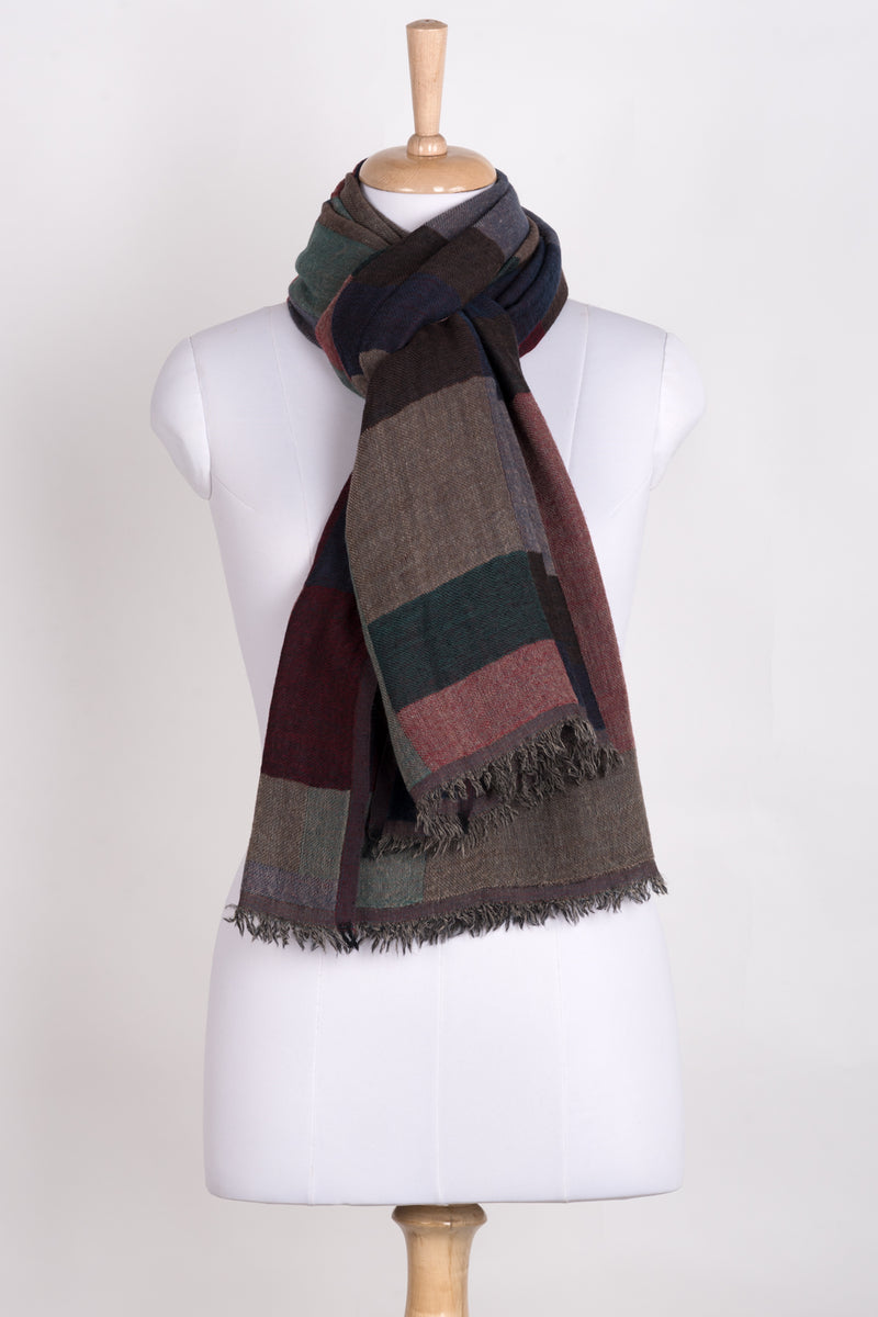 Mix Checks Jacquard Merino Wool Scarf - Red Blue Multi