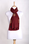 Gold Maple Leaf Cashmere Wool Scarf - Crimson
