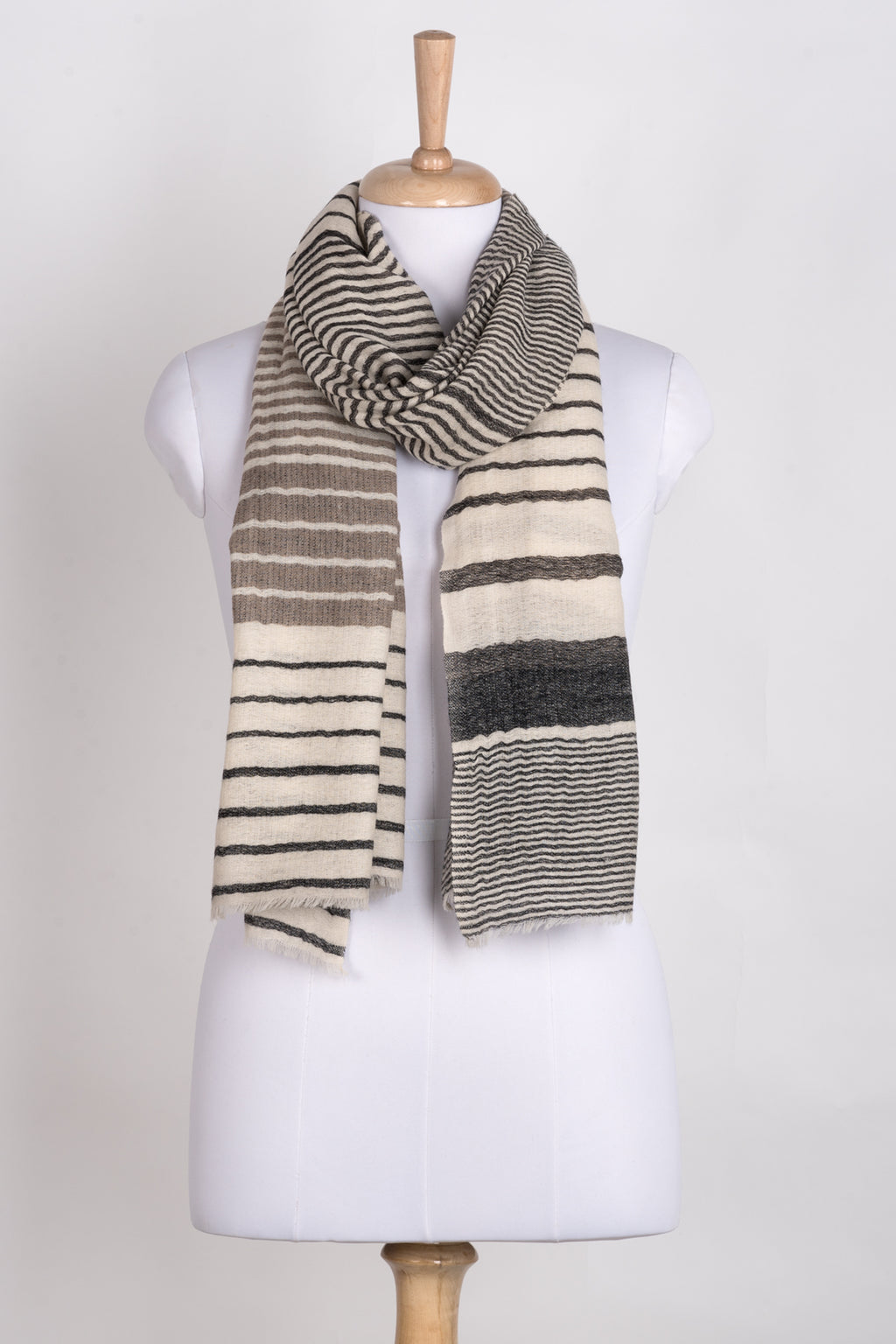 Reversible Stripes Merino Wool Scarf - Off-White Multi