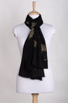 Gold Maple Leaf Cashmere Wool Scarf - Black