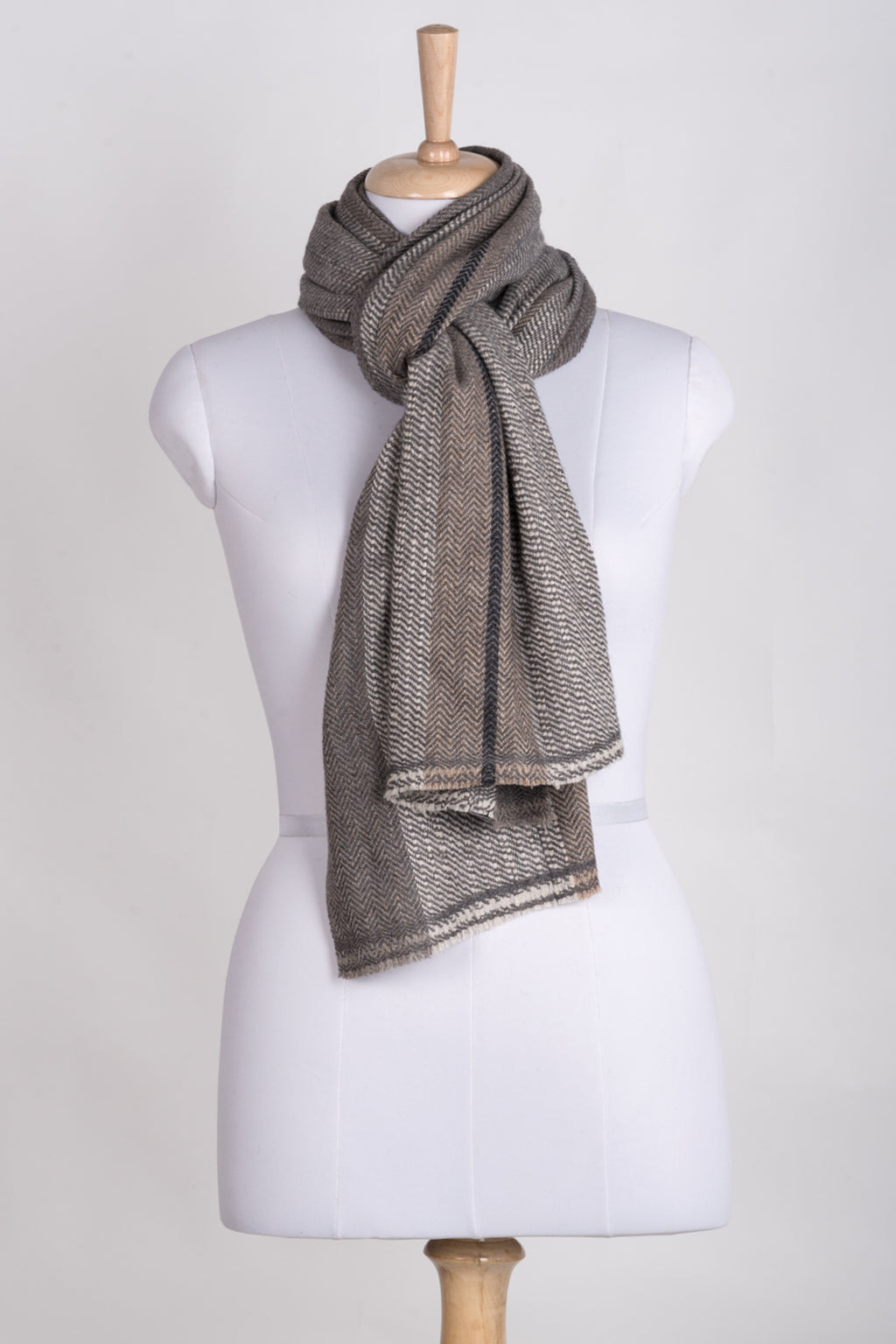 Stripes and Chevron Cashmere Wool Scarf - Grey