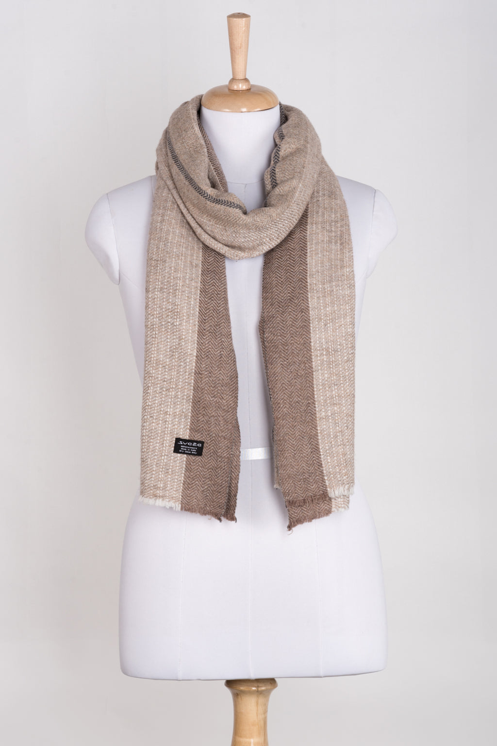 Stripes and Chevron Cashmere Wool Scarf - Beige