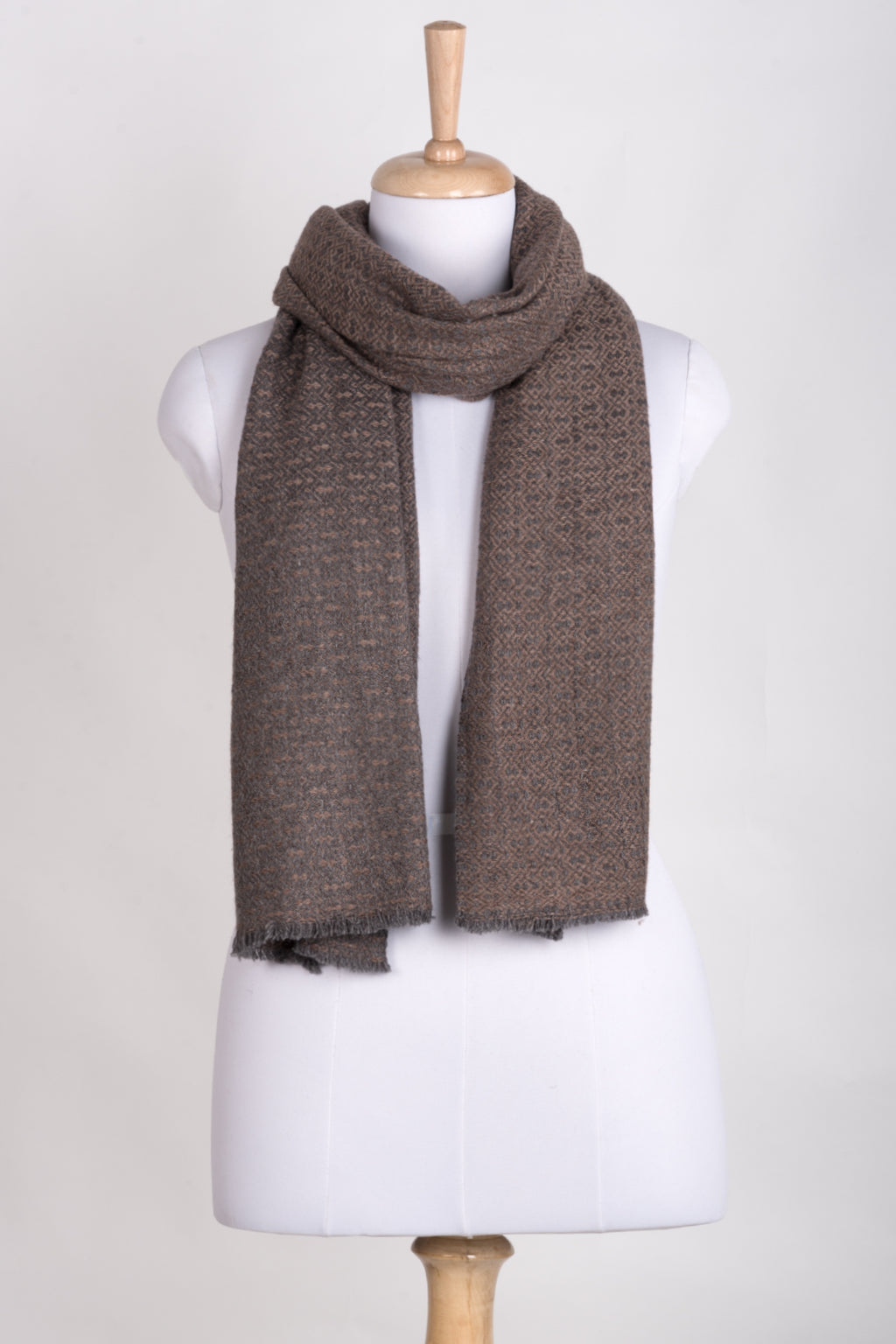 Novelty Diamond Weave Cashmere Wool Scarf - Grey Rose Pink