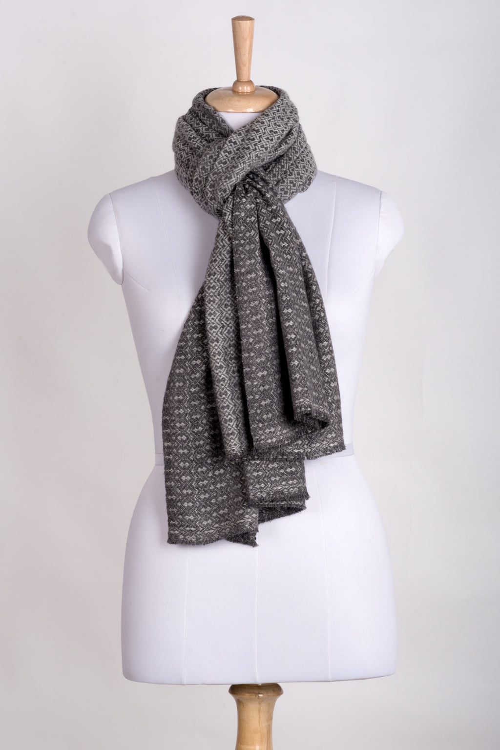 Novelty Diamond Weave Cashmere Wool Scarf - Grey Tonal