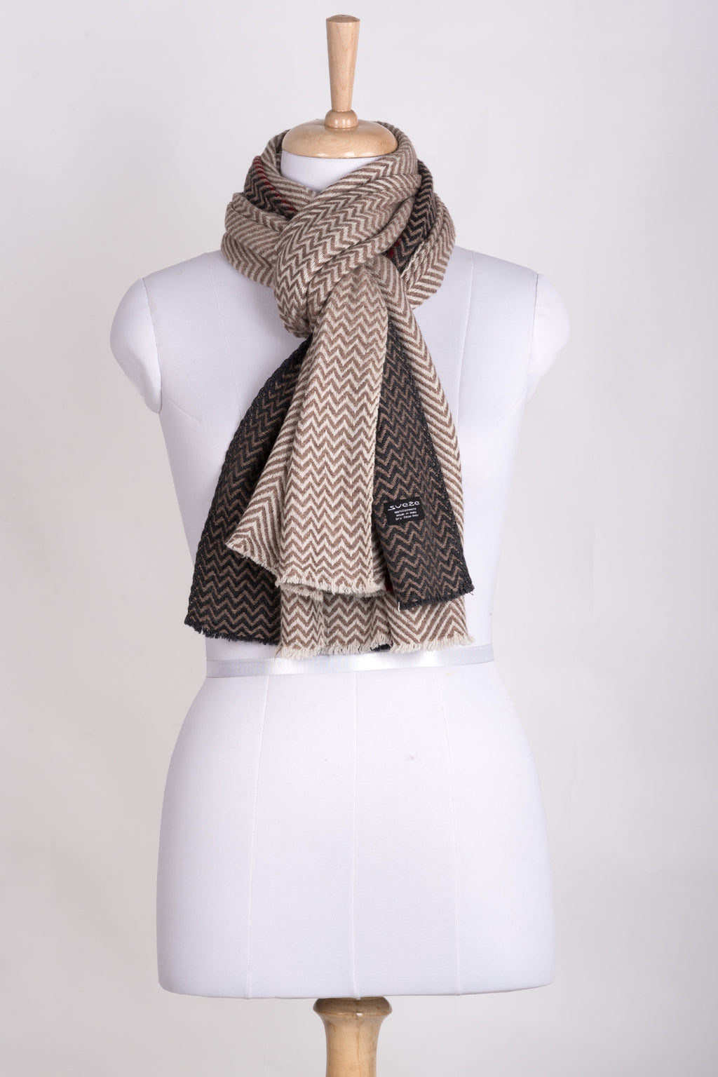 Chevron Bands Cashmere Wool Scarf - Beige Charcoal