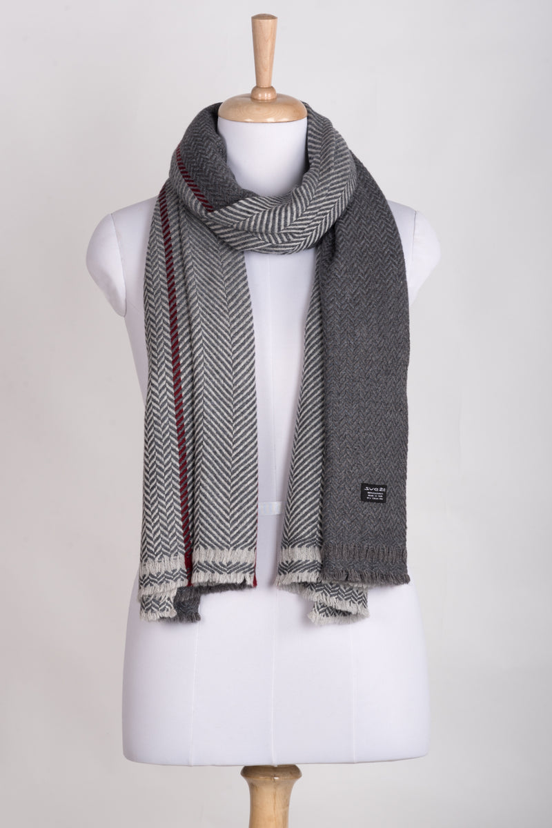 Chevron Bands Cashmere Wool Scarf - Grey Tonal