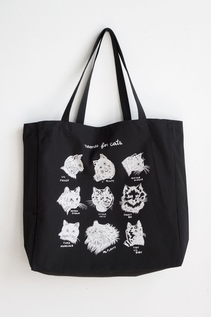 Names for Cats XL Tote - BLACK