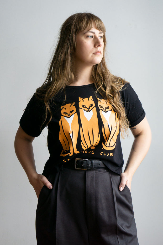 3 Cats Cropped Loose Tee
