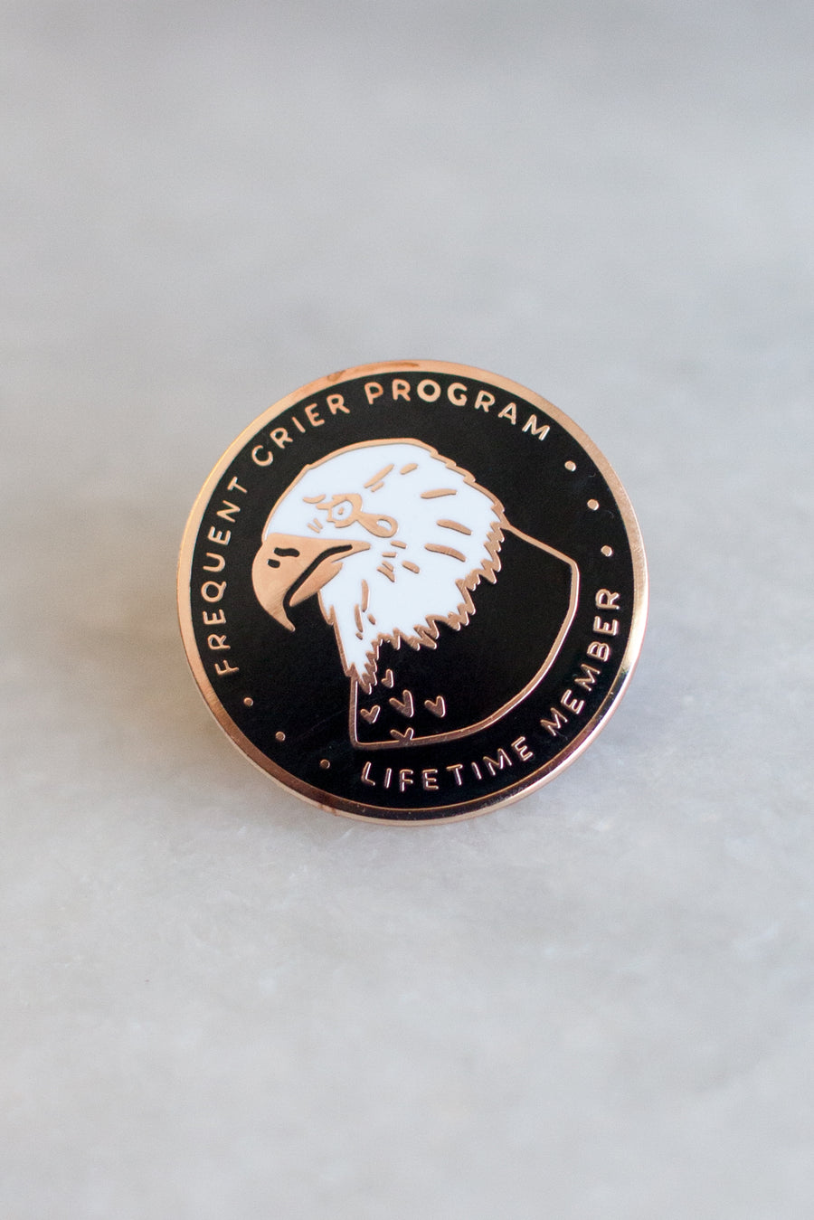 Frequent Crier lapel pin