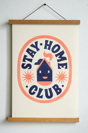dark blue stay home club text in orange oval with house with smiley face and stars in the centre