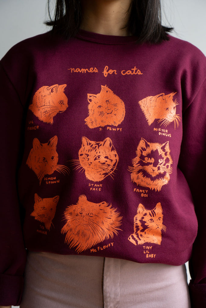 Names for Cats Crewneck Sweatshirt - BURGUNDY