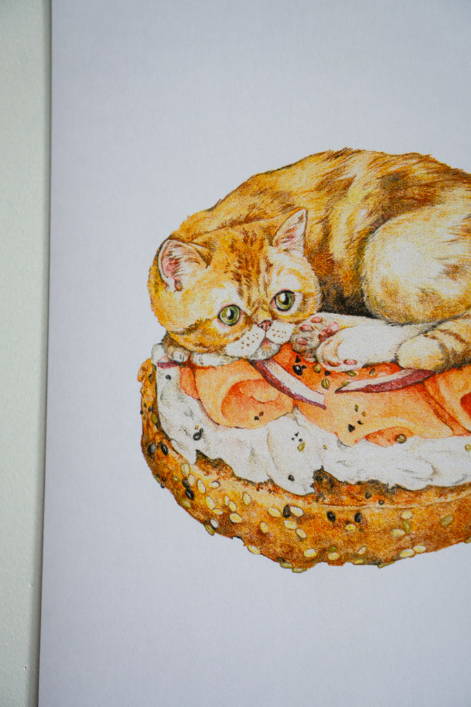 "Bagel Cat Riso Print - 11"" x 17"""