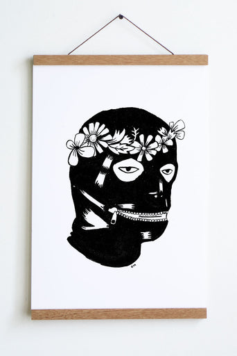 black and white drawing of head with leather  covering with zipper mouth and flower crown