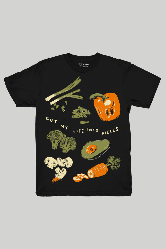 "funny black t-shirt with sliced vegetables print and the Papa Roach lyrics ""cut my life into pieces"""