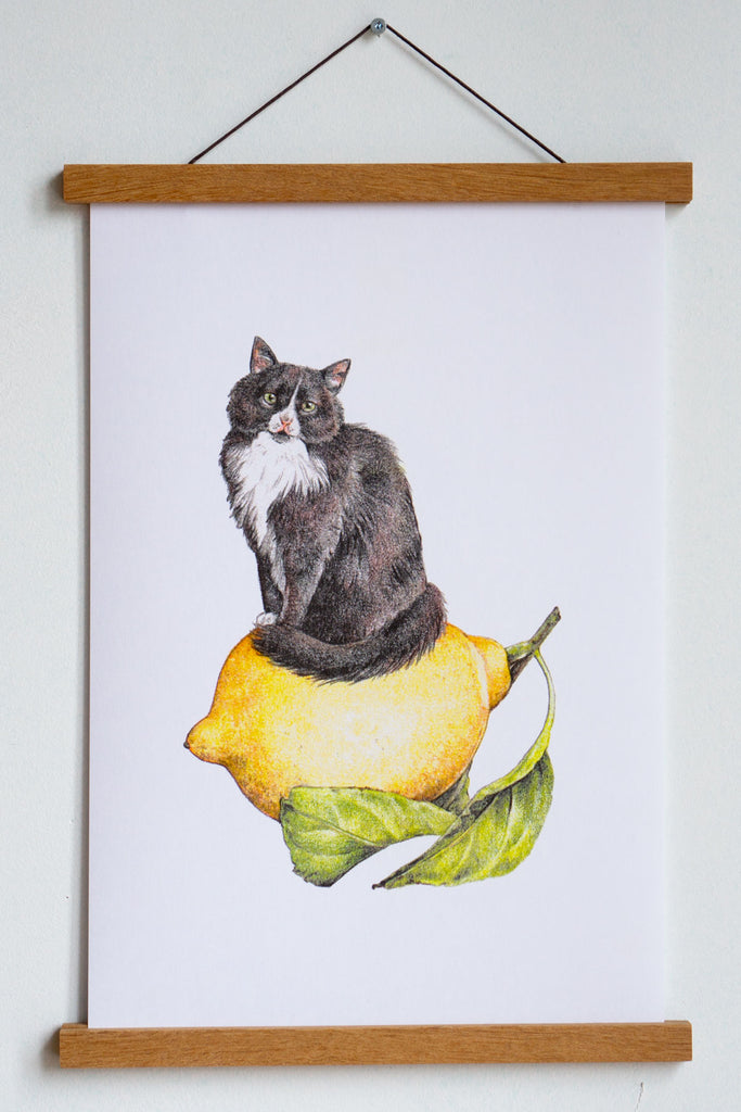 "Lemon Cat Riso Print - 11"" x 17"""