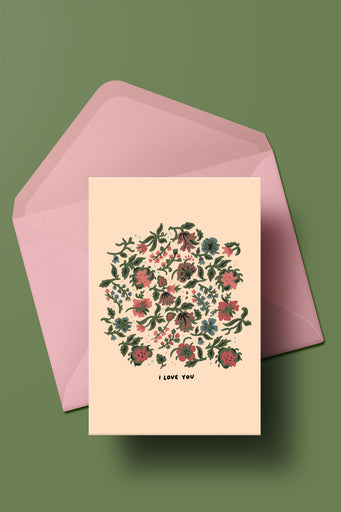 I Love You (Beige Flowers) Card
