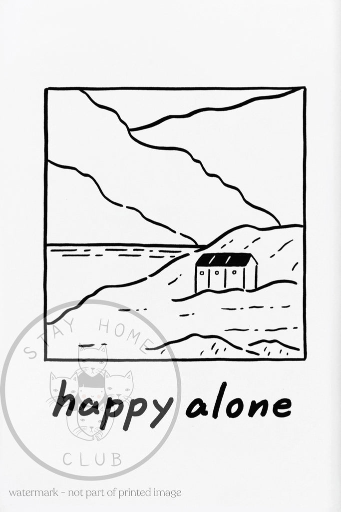 "Happy Alone Print - 12"" x 18"""