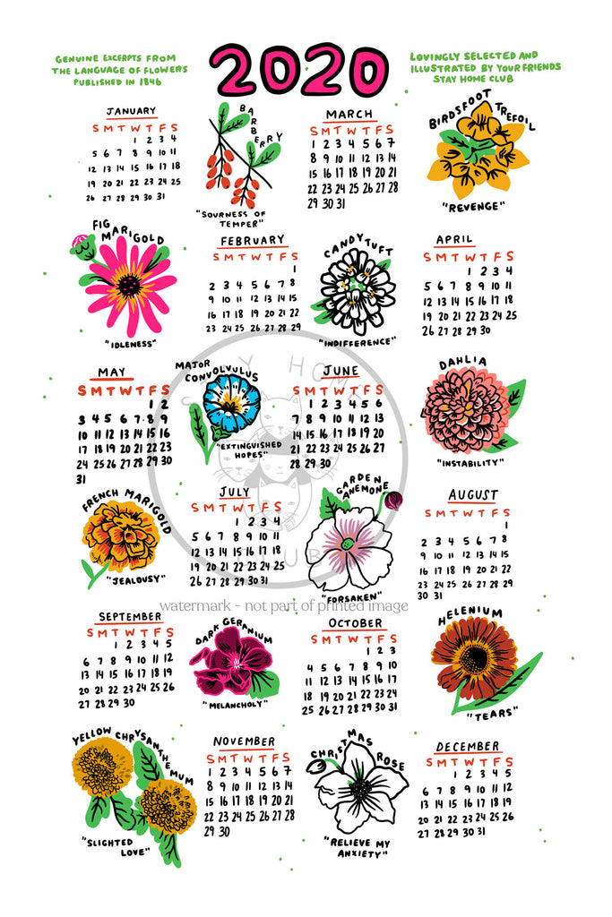 "Language of Flowers Calendar Print - 12"" x 18"""