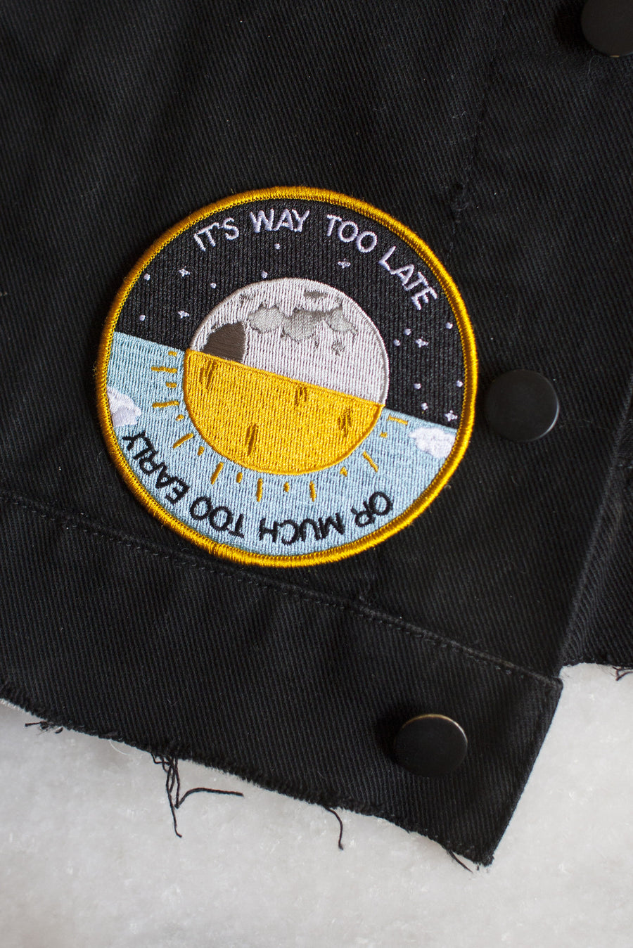 Way Too Late iron-on patch