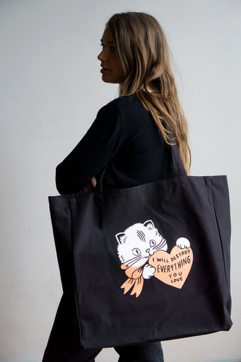 Destroy (Cat) XL Tote - BLACK