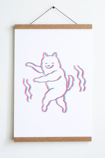 line drawing in pink and blue of dog on hind legs and smiley face with wiggle lines on both sides