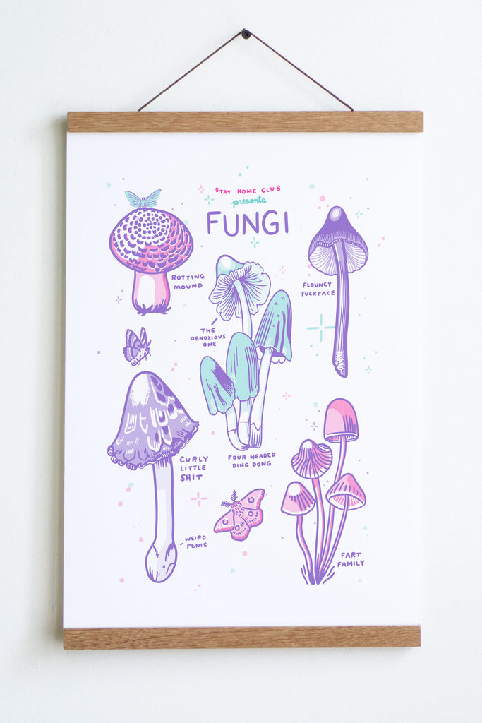 drawing in light purple pink and blue of mushrooms with text that reads stay home club presents  fungi at top and small text rotting mound flouncy fuckface fart family etc