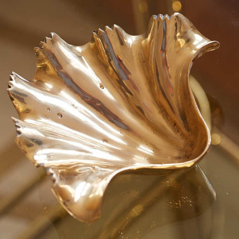 Brass coloured vintage style clam shell decoration