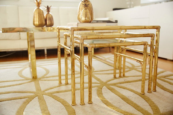Gold bamboo table nest