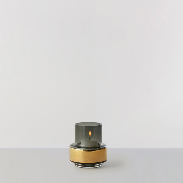 HURRICANE TEALIGHT no. 25 - Smoked grey + gold