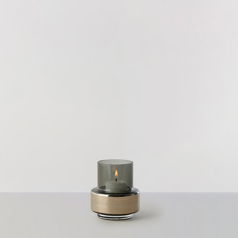 HURRICANE TEALIGHT no. 25 - Smoked grey + platinum