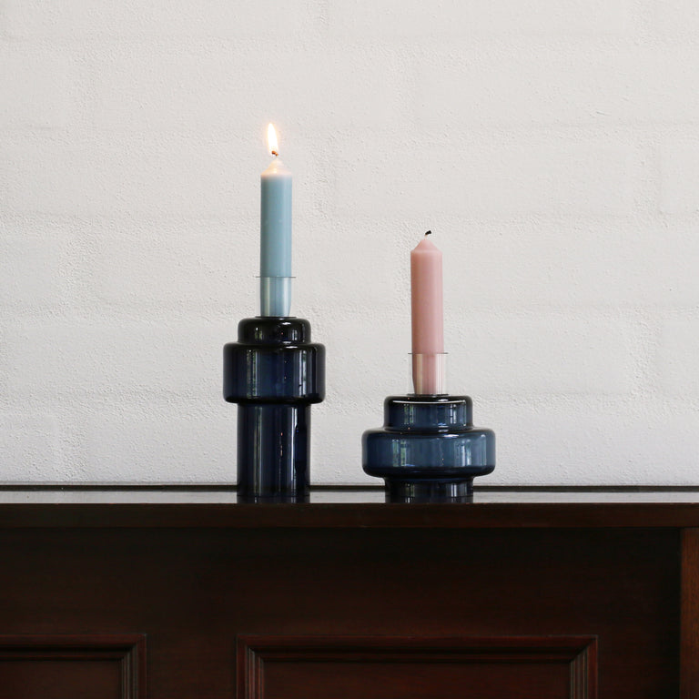 GLASS CANDLESTICK no. 55 - Indigo blue