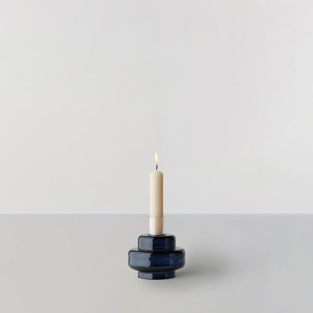 GLASS CANDLESTICK no. 54 - Indigo blue