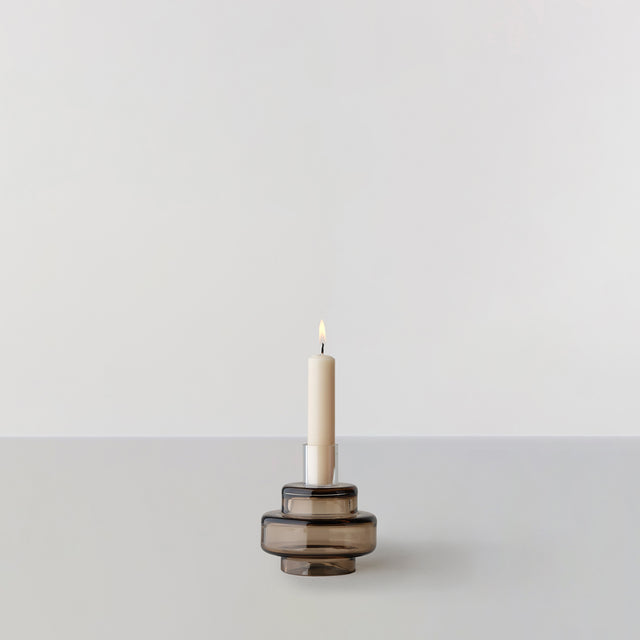GLASS CANDLESTICK no. 54 - Sepia brown