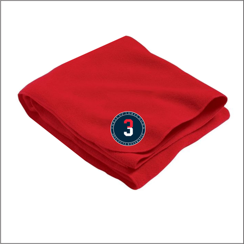 3 Up 3 Down Baseball - Fleece Stadium Blanket Red