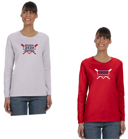 3 Up 3 Down Baseball - Women's Long Sleeve Tee (Bats Logo)