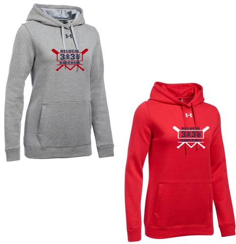 3 Up 3 Down Baseball - Women's Under Armour Hustle Hoody (Bats Logo)