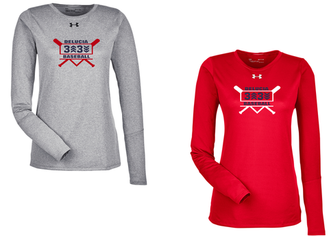 3 Up 3 Down Baseball - Women's Under Armour Longsleeve Locker Tee (Bats Logo)