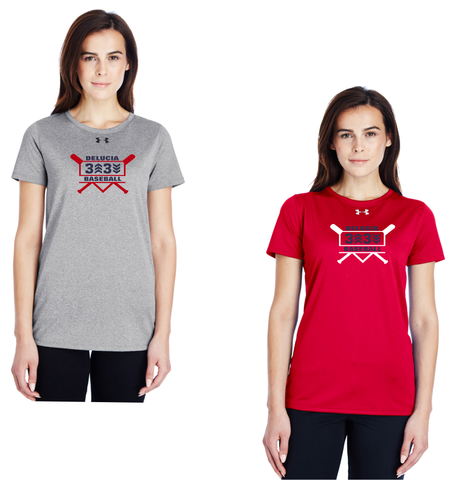 3 Up 3 Down Baseball - Women's Under Armour Shortsleeve Locker Tee (Bats Logo)