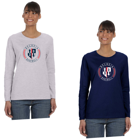 3 Up 3 Down Baseball - Women's Long Sleeve Tee (Circle Logo)