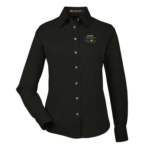 HOPE RESCUE - WOMENS LONG SLEEVE BUTTON UP TWILL